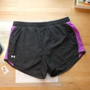 Black and Purple Underarmour Sports Shorts